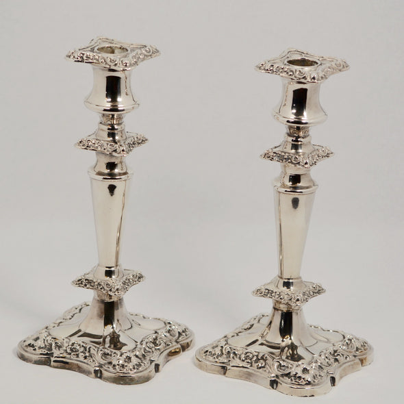 Canadian-Made BP Antique Silver-Plated Candlestick Holder Set (2)