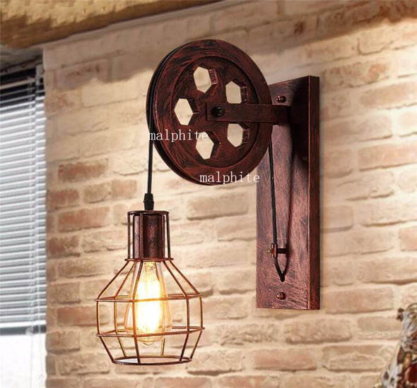 Industrial Vintage-Style Indoor Iron Pulley Wall Lamps