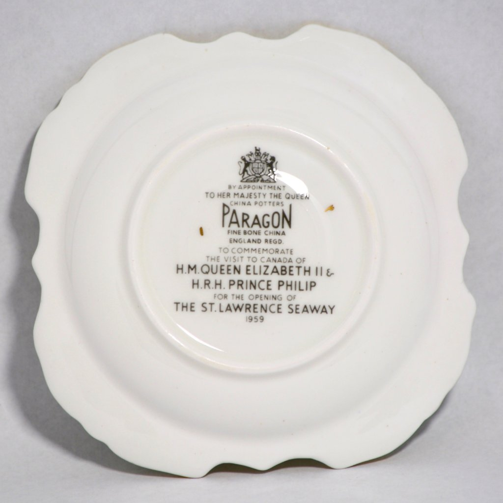 Small Antique Plate Commemorating 1959 Royal Visit to Opening of St. Lawrence Seaway