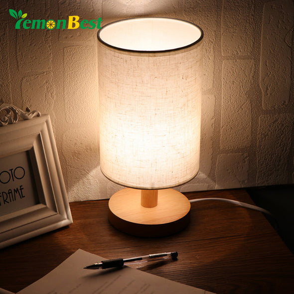 Small Wooden Table Lamp With Fabric Shade