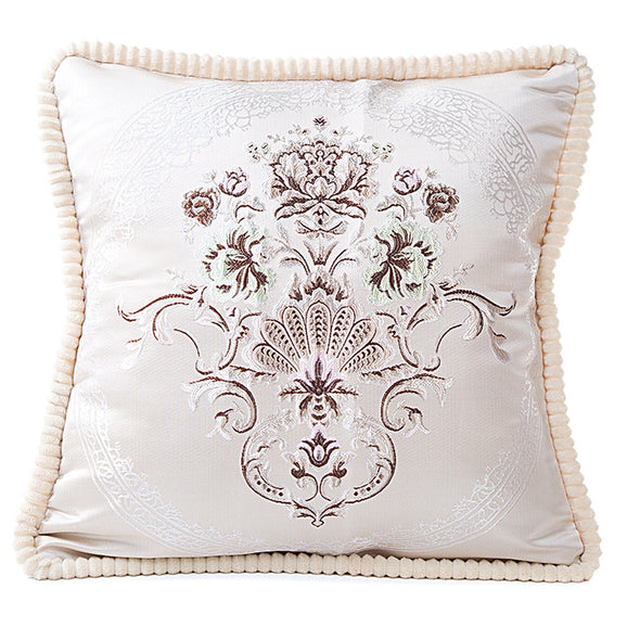 Decorative Satiny Pillow Cover With Vintage-Style Motif