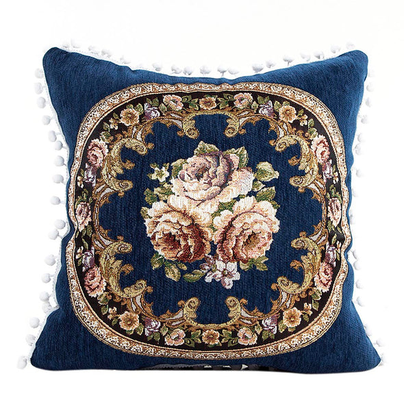 Decorative Chenille Pillow Cover With Floral Motif