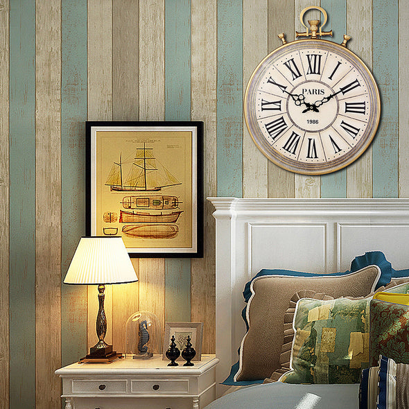 Large Round Pocket Watch-Style Wall Clock
