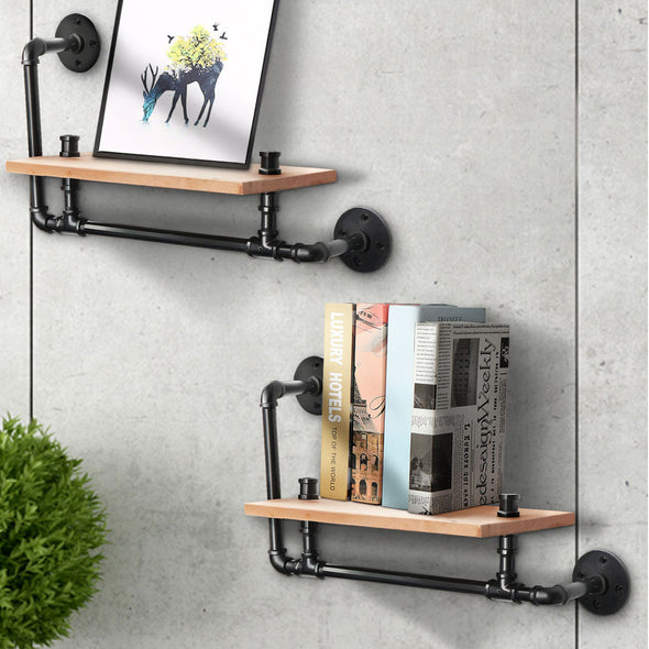 Vintage-Style Industrial Iron Pipe Wooden Wall Shelf