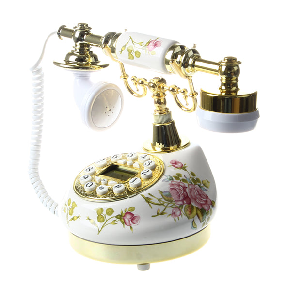 Antique-Style Tabletop Ceramic Telephone - Floral on White Background w/ Brass Accents