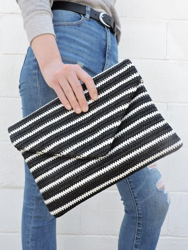 Striped Clutch + Chain - ALL SALES FINAL