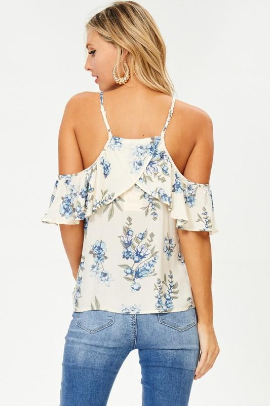 Blue Belle Cold Shoulder Top