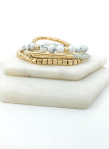 White Stone + Brass Stacked Bracelet