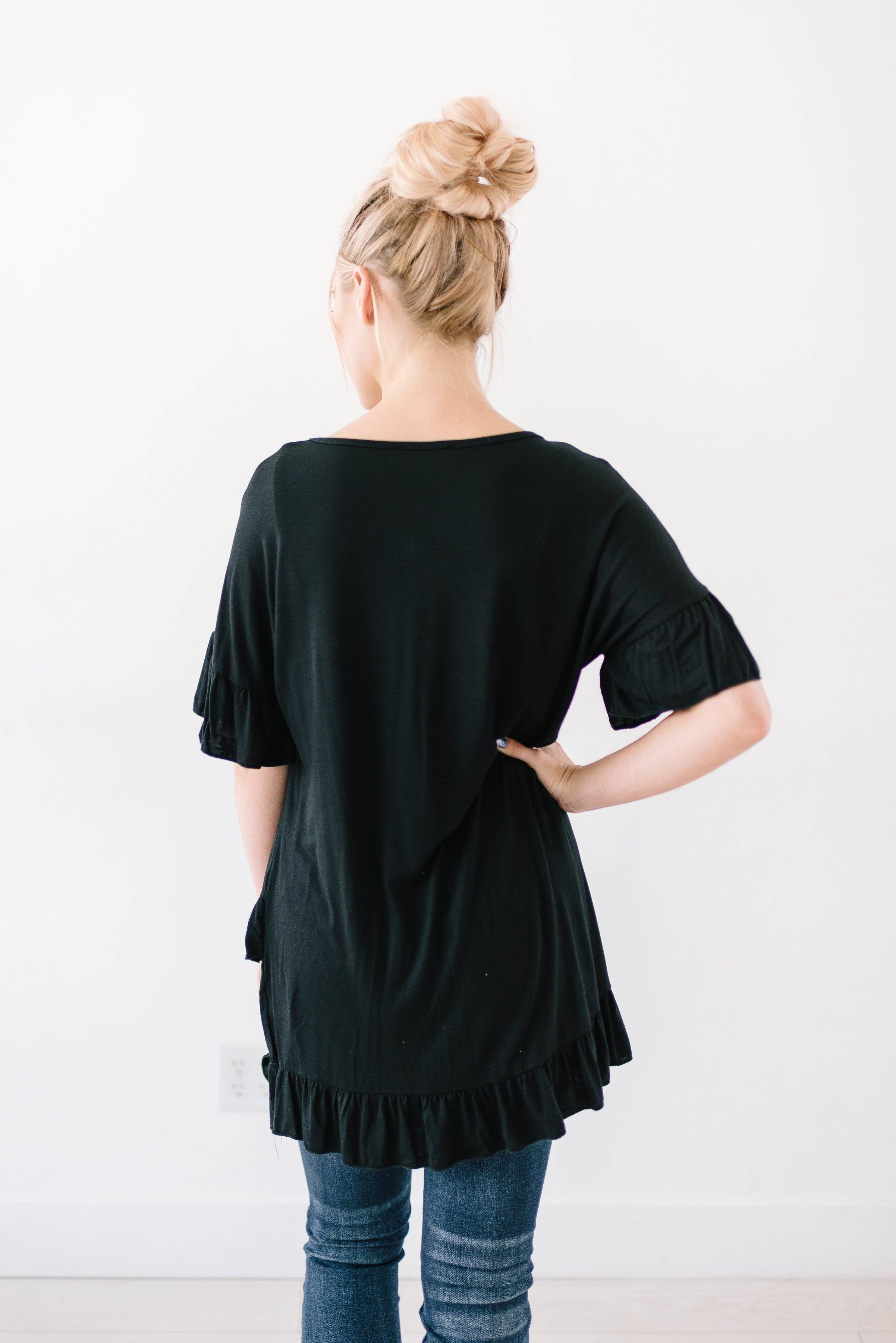 Weekend Ruffles Black Top