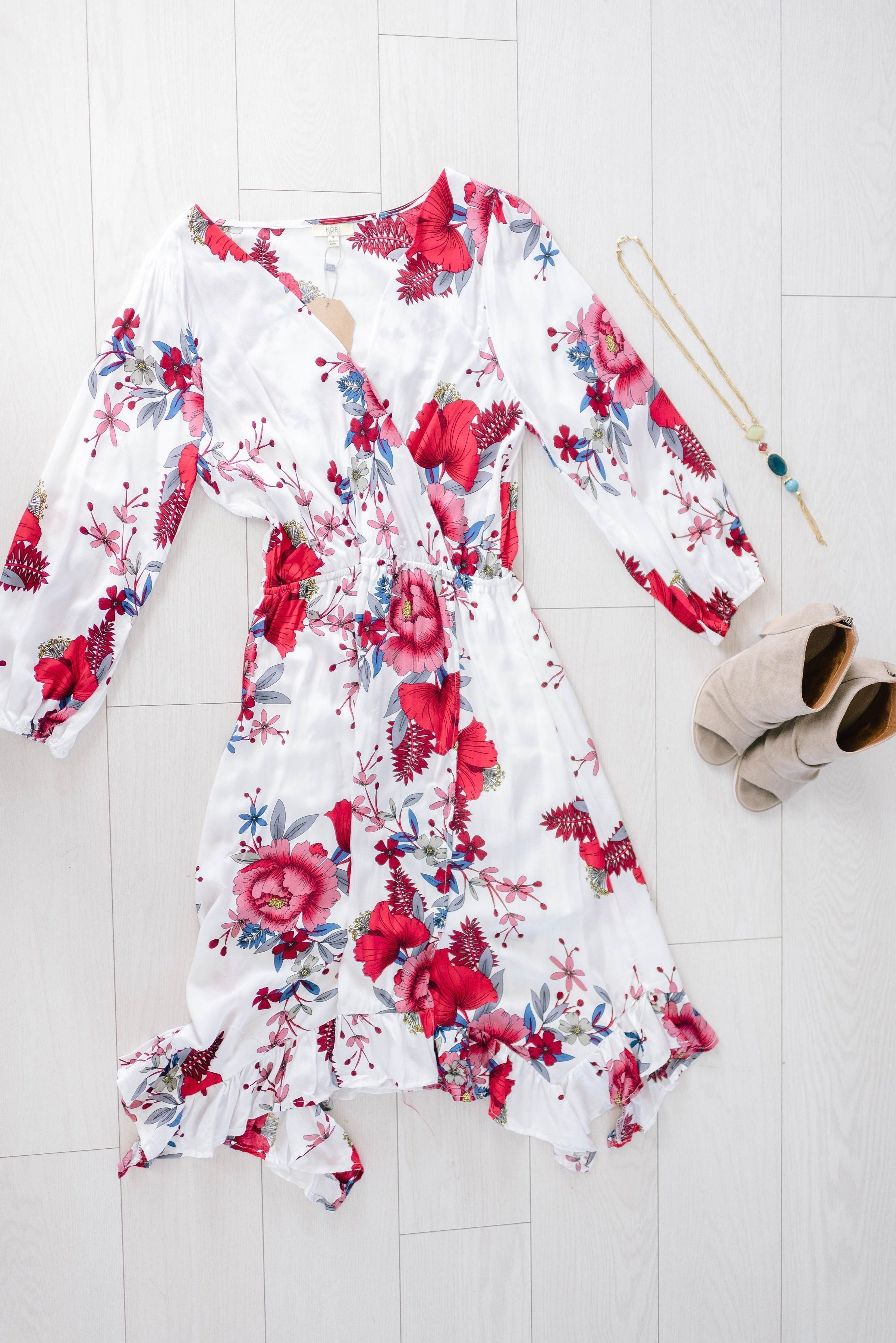 Blooming Love Dress In White