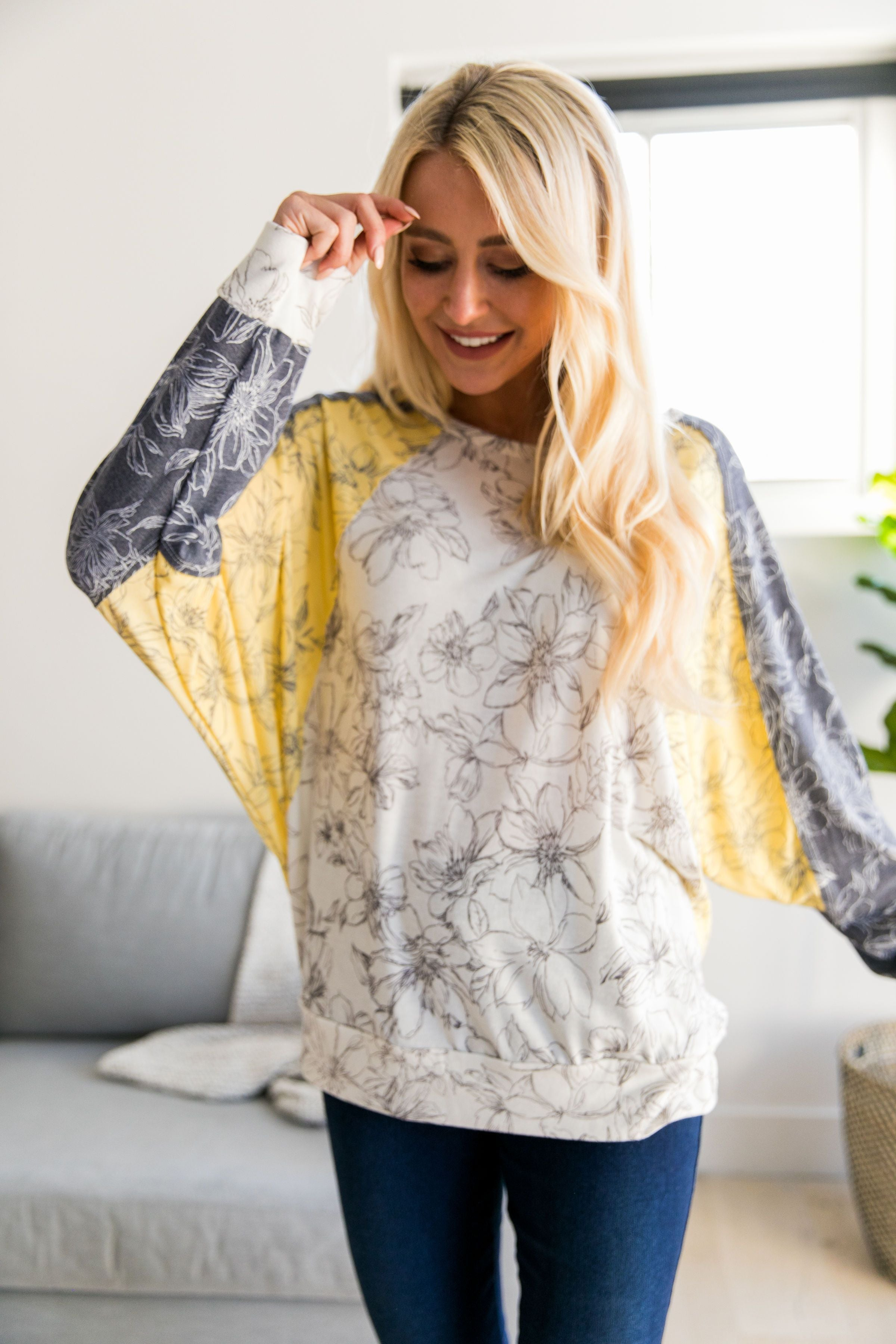 Dolman Sleeve Floral Color Block Top