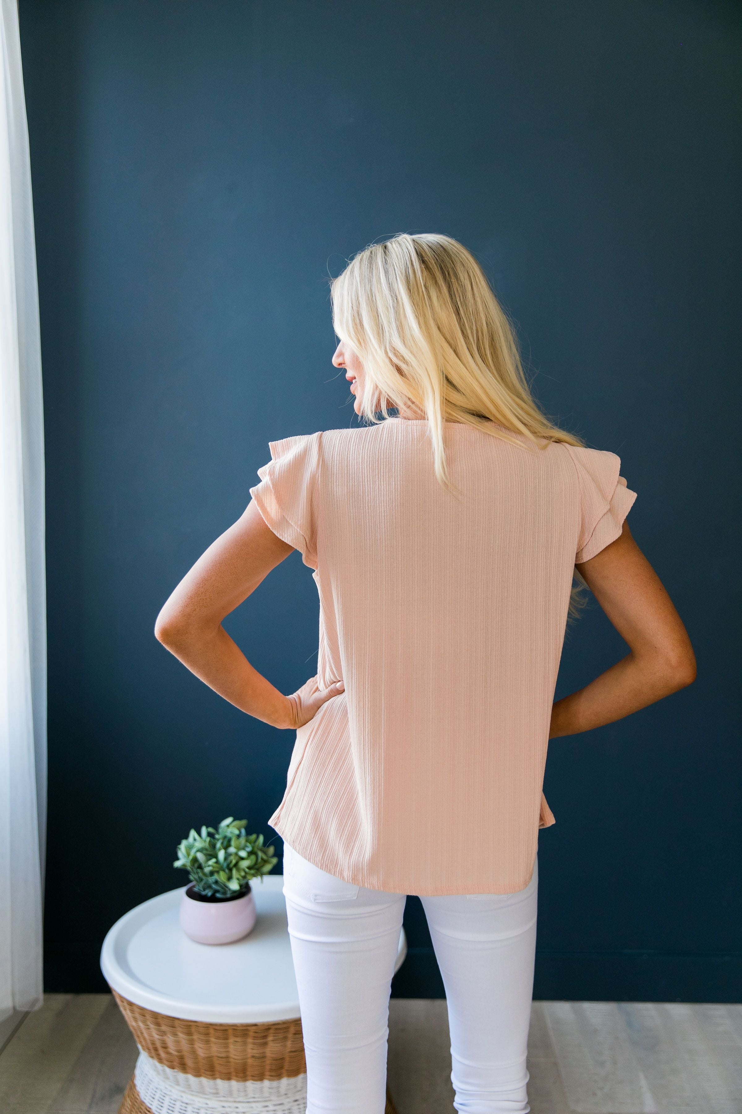 Double Ruffle Top In Peach