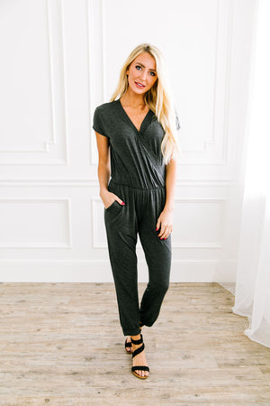 Let's Wrap Grey Jumpsuit - ALL SALES FINAL