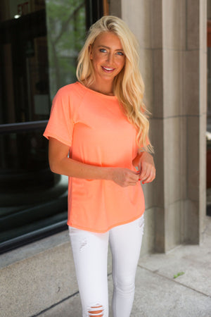 Boatneck Tee In Neon Coral