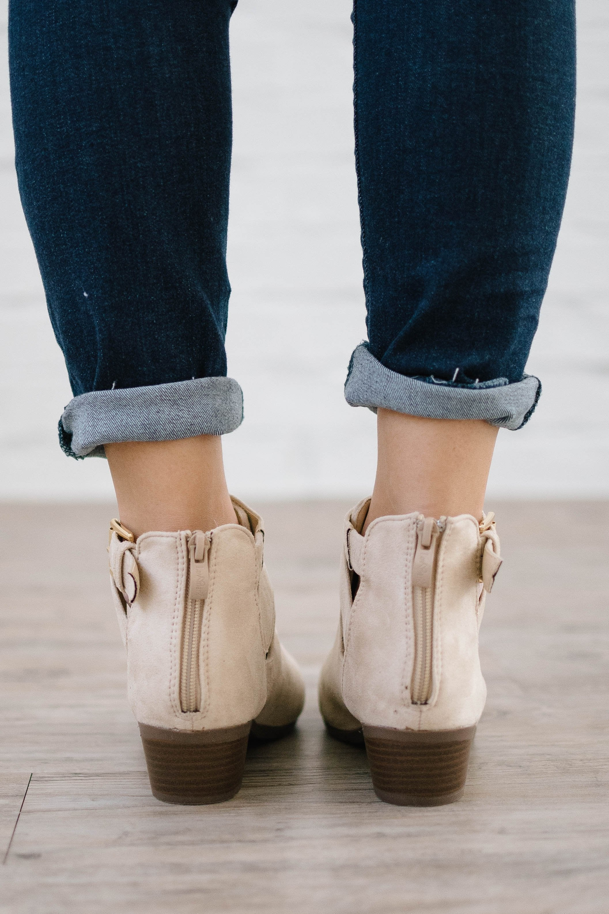 Buckle Booties in Beige Suede