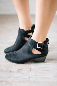 Buckle Booties in Black Suede