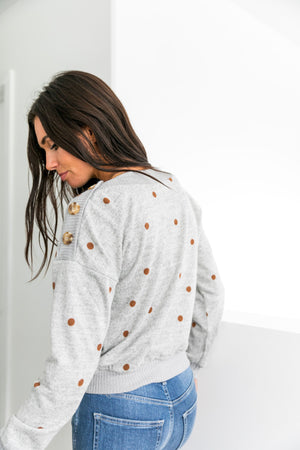 Buttons + Polka Dots Sweater - ALL SALES FINAL