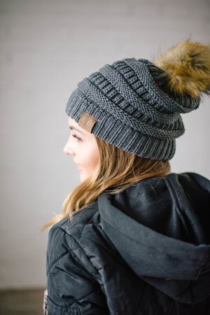CC Fur PomPom Beanie in Gray