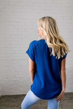 Chelsea Rolled Sleeve Top In Sapphire