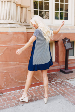 Coastal Stripe A-Line Dress