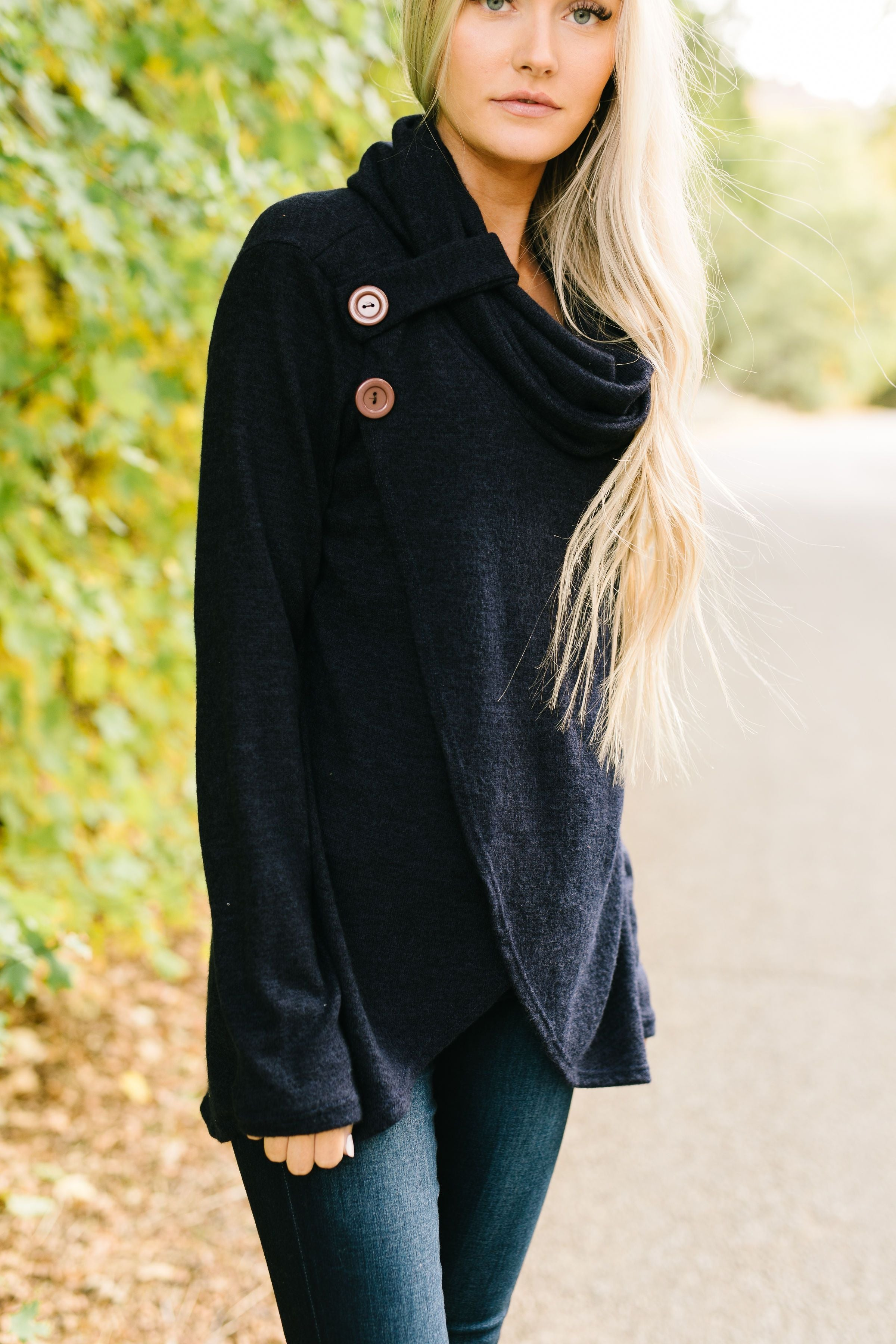 Cute As A Button Cowl Neck Sweater In Navy