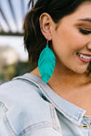 Don't Leave Me Earrings In Teal