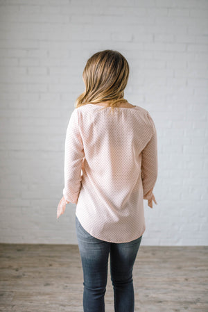 Dot Me Blouse in Blush