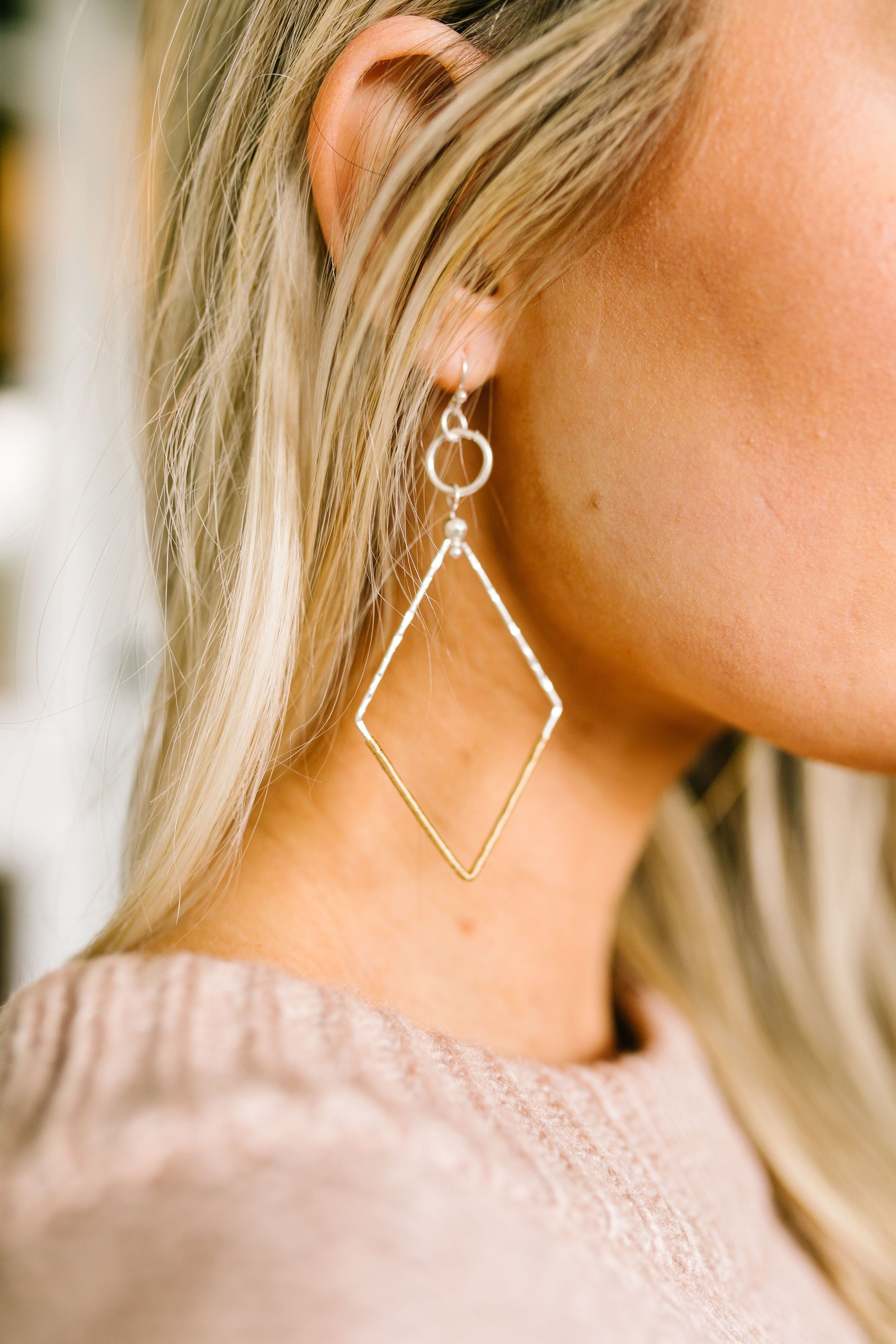 Down To The Wire Diamond Shaped Earrings