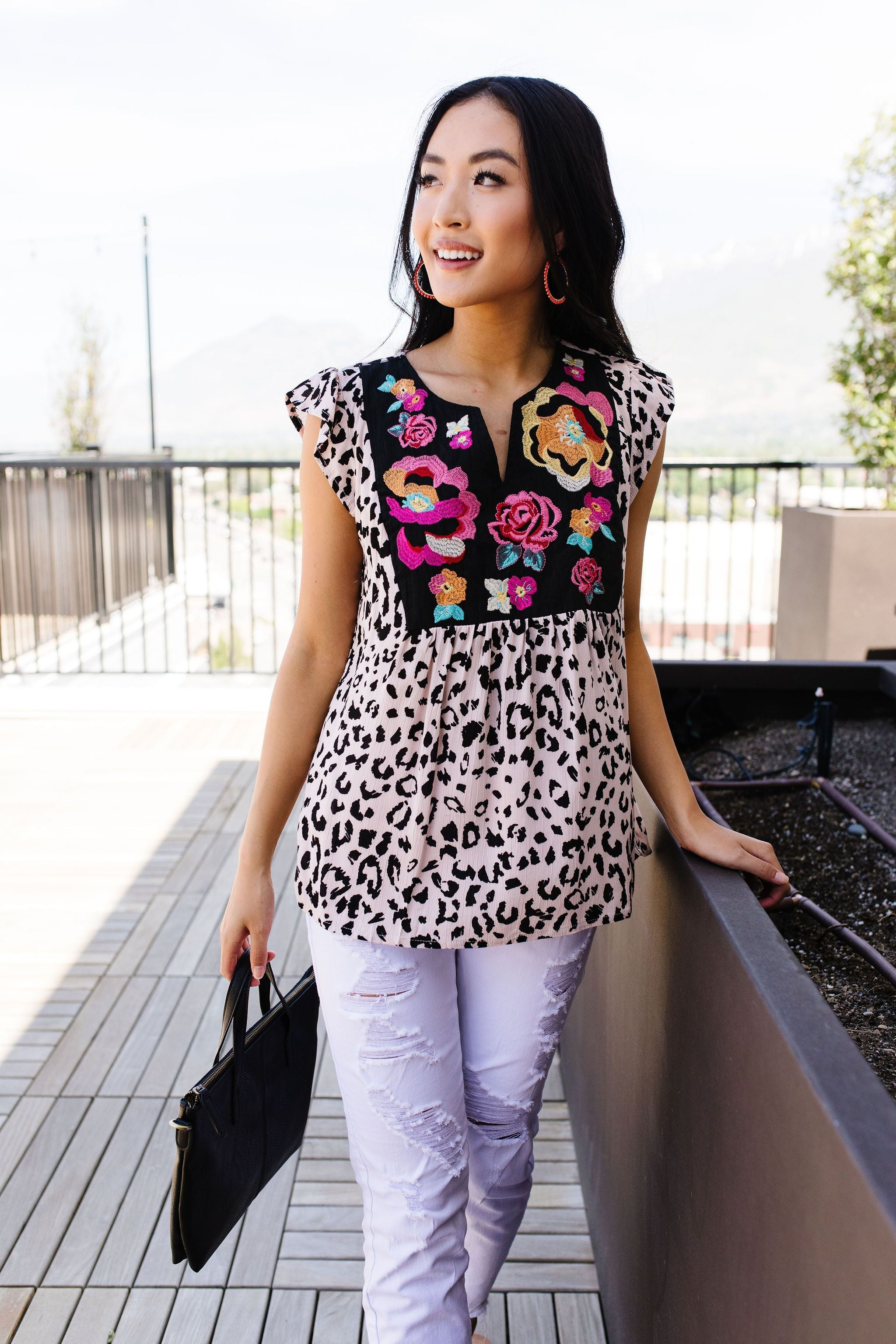 Feline In the Flower Garden Top