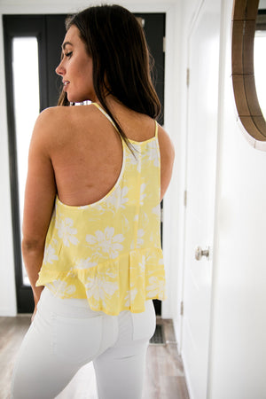 Floral Cropped Tank In Lemon - ALL SALES FINAL