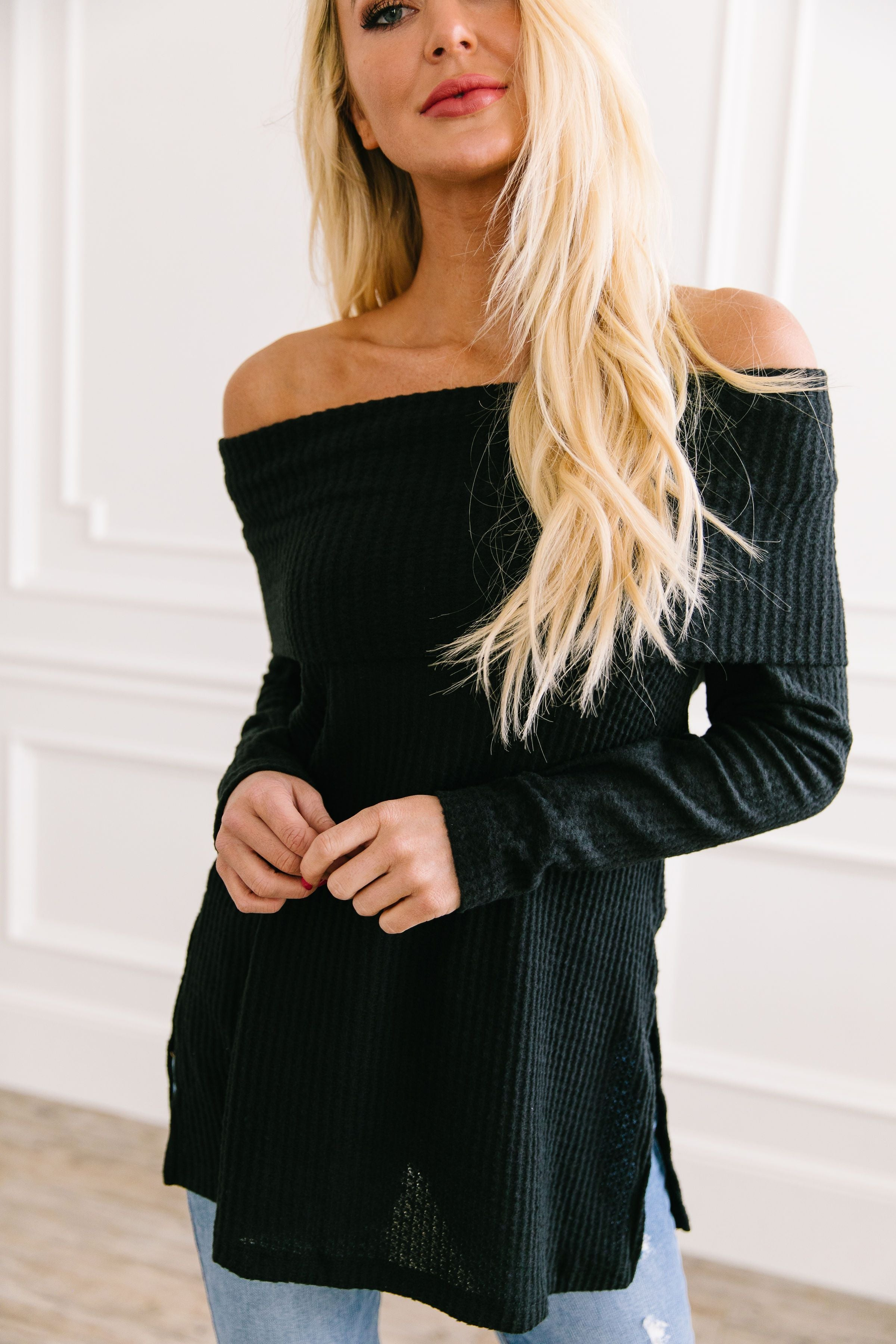 Isn't She Lovely Black Waffle Knit Top - ALL SALES FINAL
