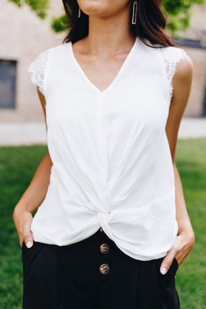 Lace Cap Sleeve Blouse In White