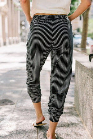 Line Up For Lounging Striped Joggers