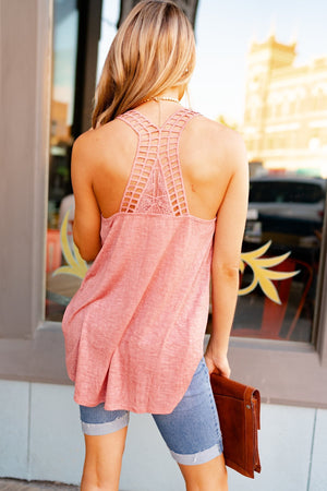 Mauve Lattice Back Tank