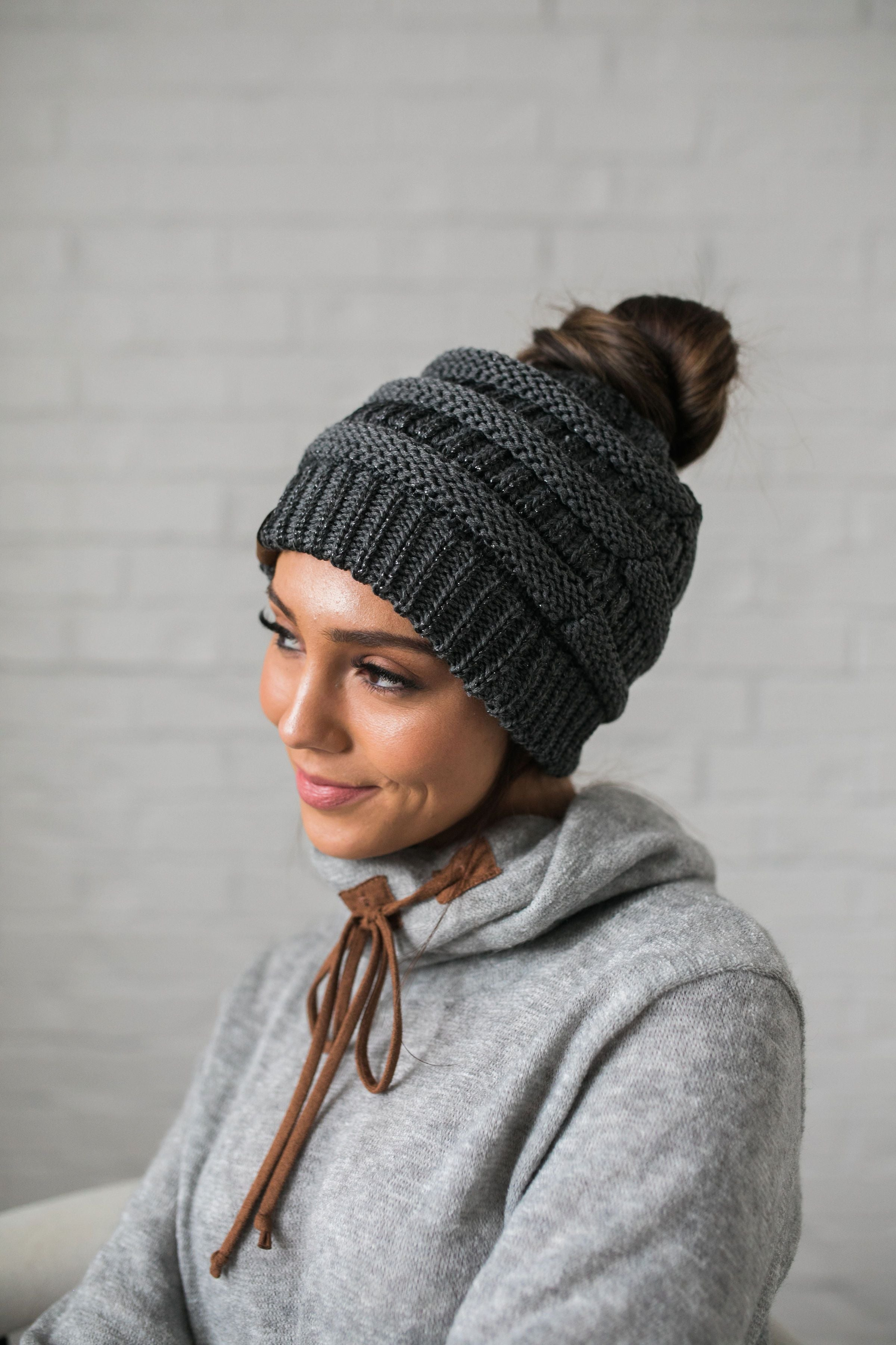 Messy Bun Metallic Beanie In Metallic Gray