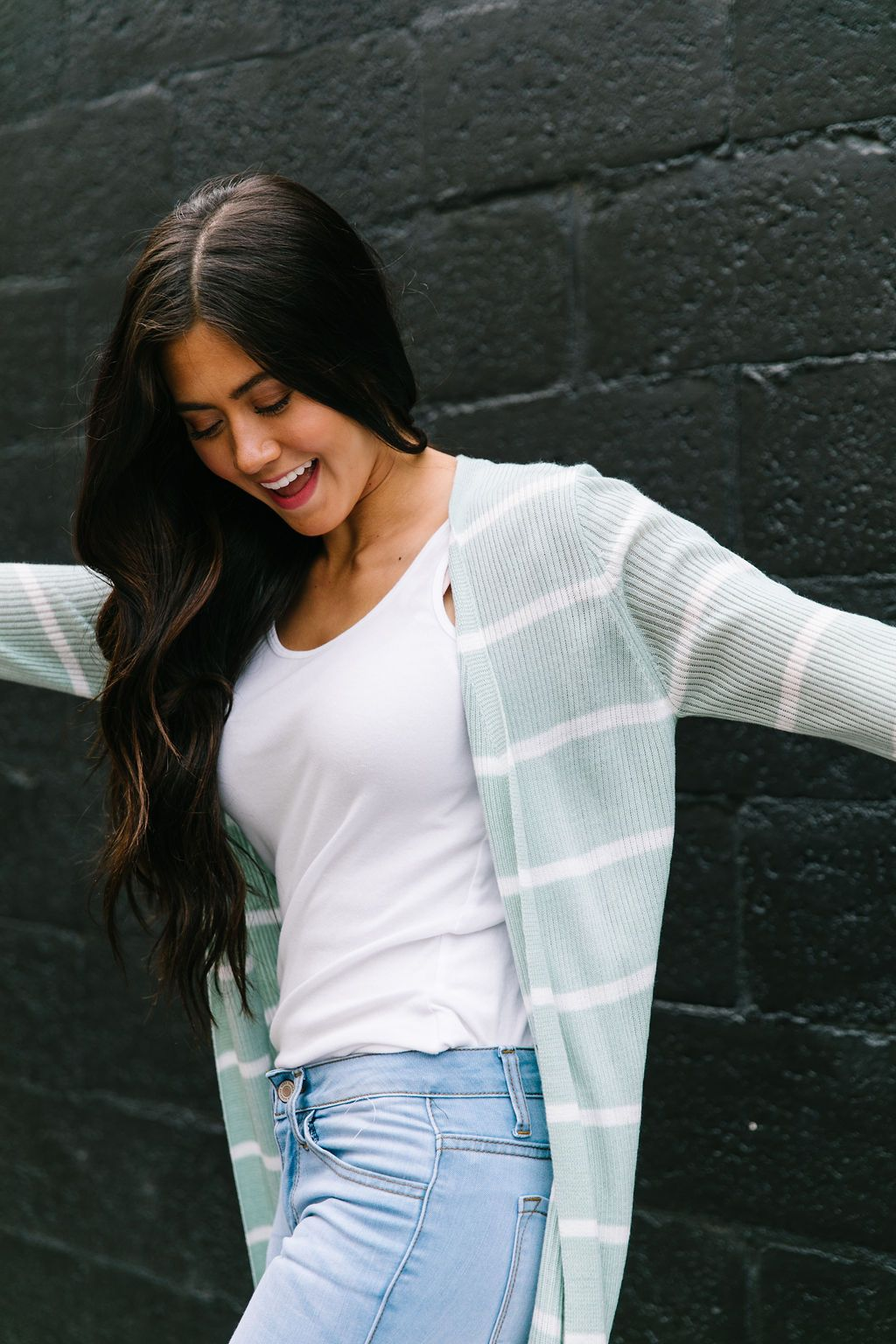 White + Mint Striped Cardigan