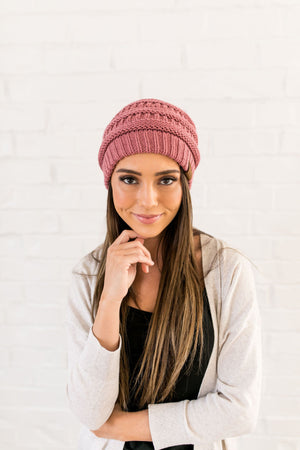 Nifty Knit Beanie In Mauve - ALL SALES FINAL