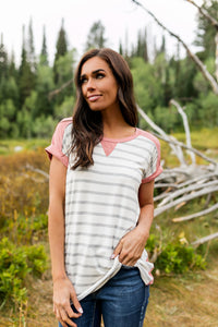 Pink Color Block + Stripes Tee