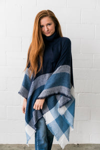 Playful Plaid Poncho in Navy - ALL SALES FINAL
