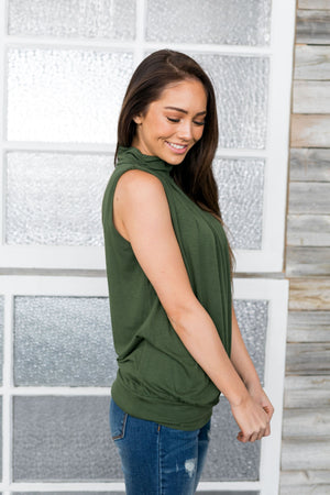 Pleats A Plenty Sleeveless Top In Army Green - ALL SALES FINAL