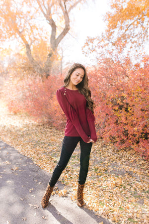Puff Piece Sweater in Burgundy