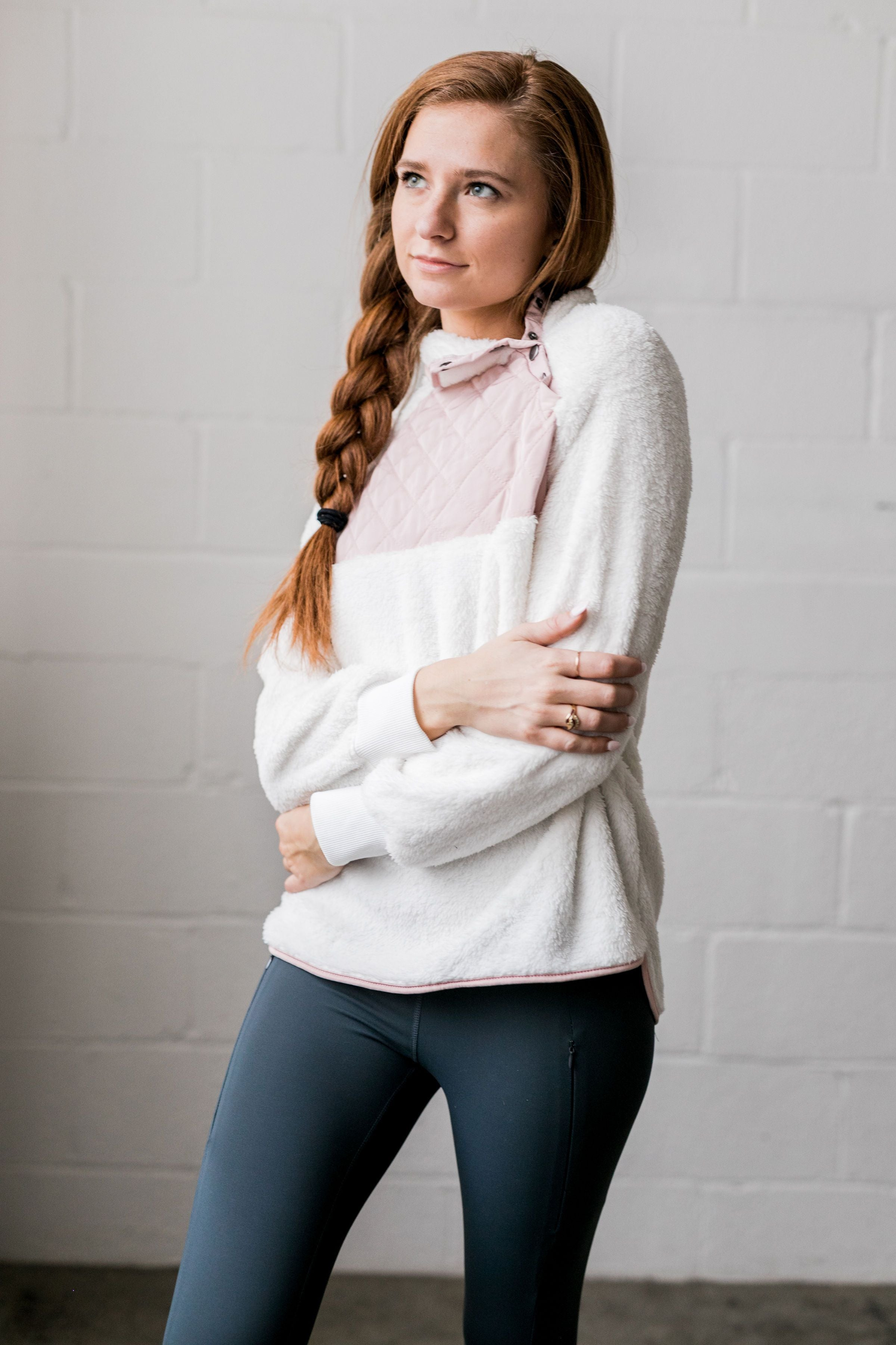 Quilted Contrast Fuzzy Pullover In Ivory + Blush