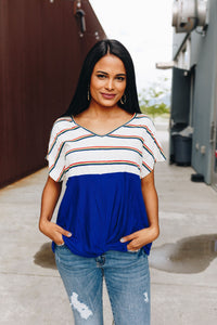 Rainbow Stripe Color Block V-Neck