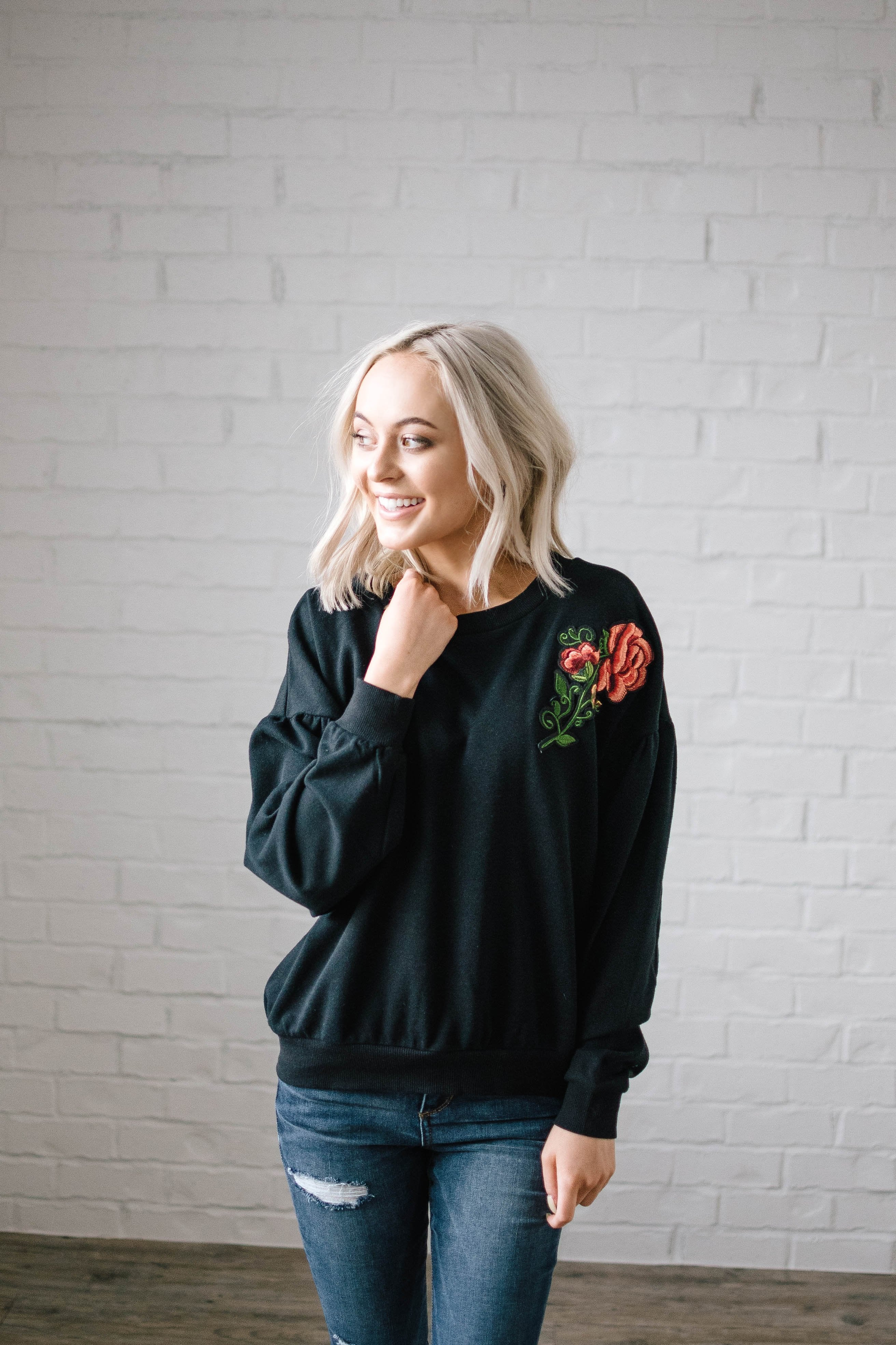 Rock And Roses Top in Black