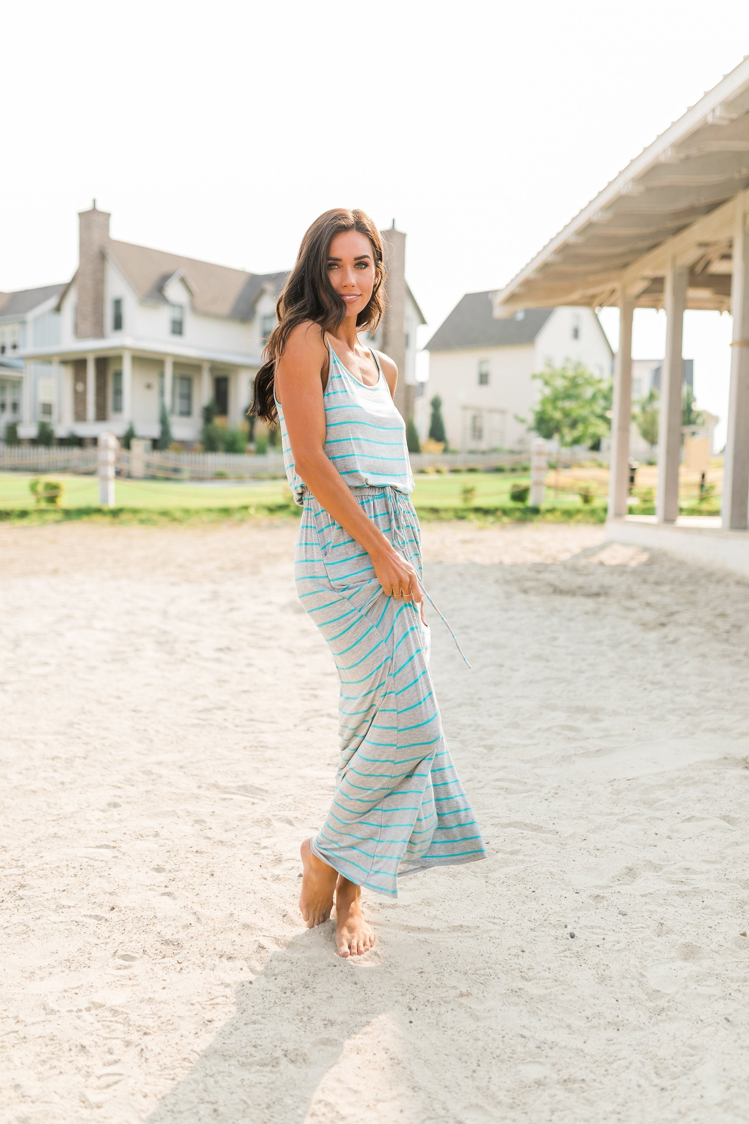 Simply Striped Turquoise Tank Dress