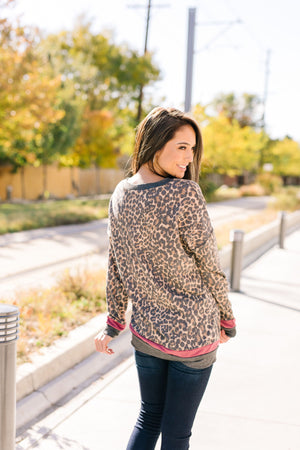 Sleep The Day Away Faded Leopard Top With Contrast Stripes - ALL SALES FINAL
