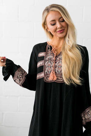 Tasha Embroidery And Tassles Swing Dress - ALL SALES FINAL