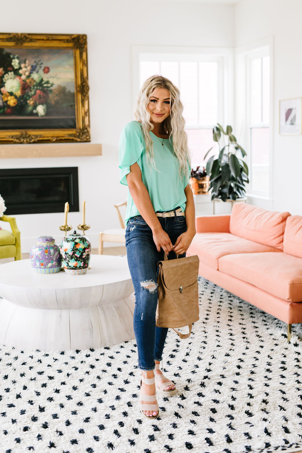 Tulip Sleeve Blouse In Mint