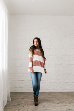 Wide Stripe Eyelash Sweater In Mauve + Ivory - ALL SALES FINAL