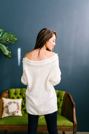 Winter White Cable Knit Off The Shoulder Sweater - ALL SALES FINAL